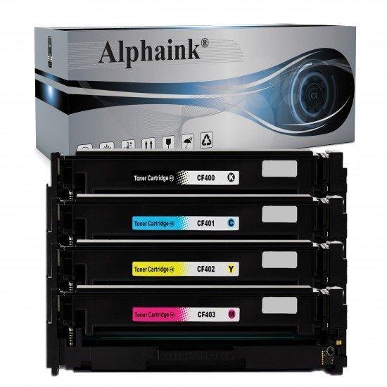 4 Toner HP AI-CF400-3X Nero + Colore Compatibili
