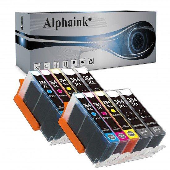 10 Cartucce Hp 364XL Nero + Colore - No chip - Compatibili