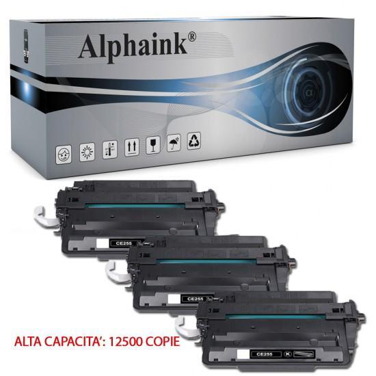 3 Toner HP CE255X Nero Compatibili